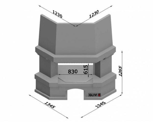 Угловой (пристенный) каминный портал (облицовка) Латгалия, каталог (интернет-магазин) каминов, изображение, фото 7