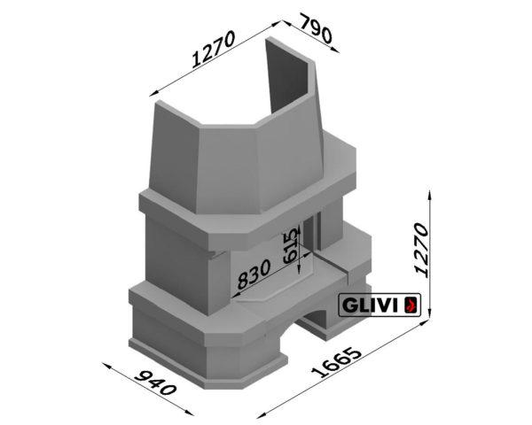 Угловой (пристенный) каминный портал (облицовка) Латгалия, каталог (интернет-магазин) каминов, изображение, фото 14