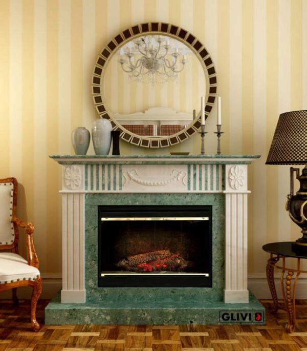 Мраморный каминный портал (облицовка) Лейпциг, каталог (интернет-магазин) каминов из мрамора, изображение, фото 1