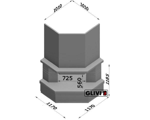 Угловой (пристенный) каминный портал (облицовка) Лео, каталог (интернет-магазин) каминов, изображение, фото 1