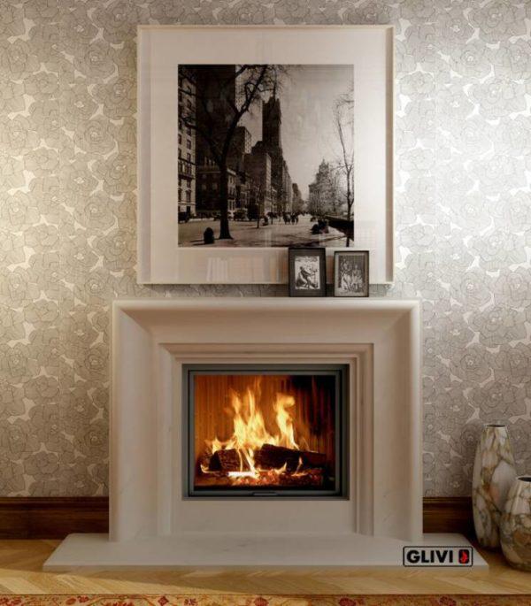 Мраморный каминный портал (облицовка) Люция, каталог (интернет-магазин) каминов из мрамора, изображение, фото 1