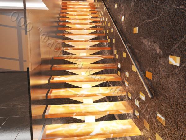 Лестница из оникса Луто, каталог лестниц из камня, изображение, фото 2
