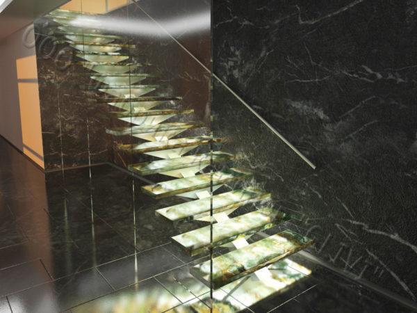 Лестница из оникса Луто, каталог лестниц из камня, изображение, фото 4