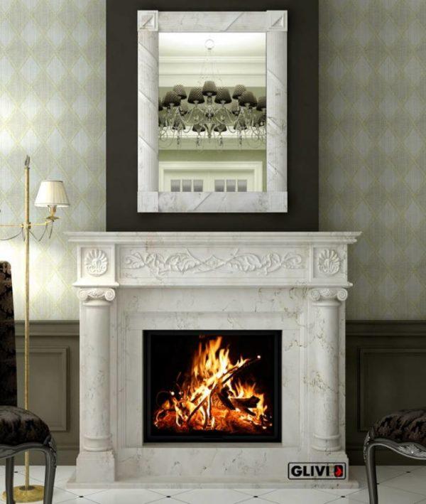 Мраморный каминный портал (облицовка) Малика, каталог (интернет-магазин) каминов из мрамора, изображение, фото 1