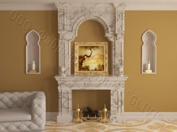 Имитация камина (фальш камин) из камня Мансур, каталог каминов, изображение, фото 9