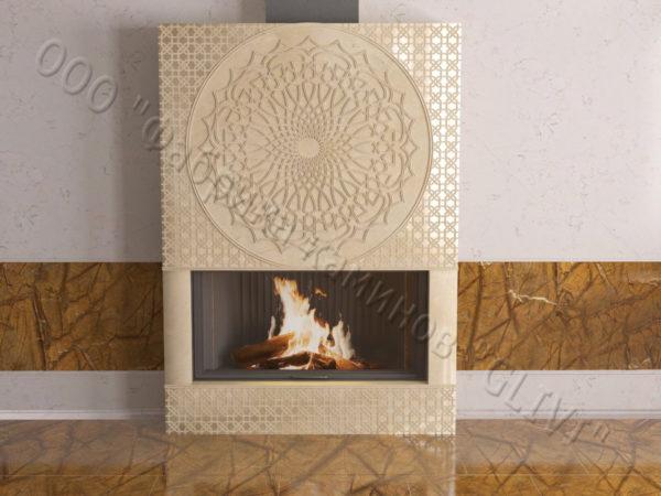 Мраморный каминный портал (облицовка) в восточном (арабском) стиле Марам, каталог (интернет-магазин) каминов из мрамора, изображение, фото 1