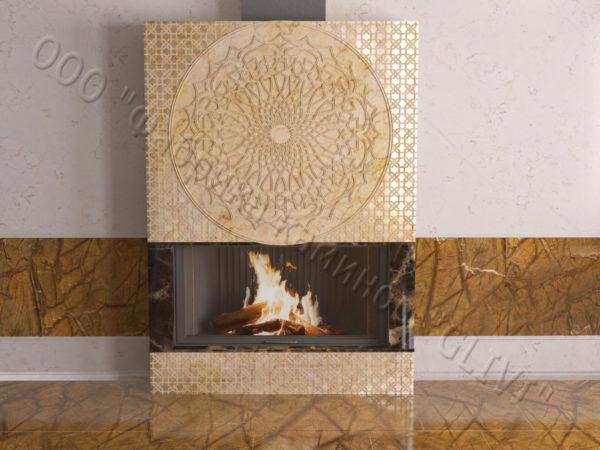 Мраморный каминный портал (облицовка) в восточном (арабском) стиле Марам, каталог (интернет-магазин) каминов из мрамора, изображение, фото 10