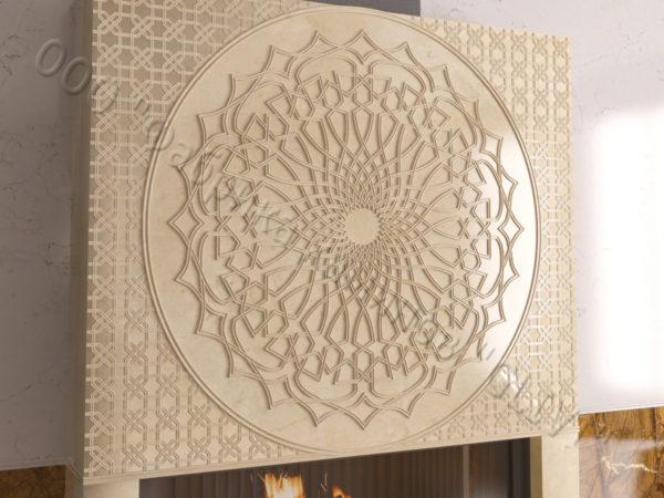 Мраморный каминный портал (облицовка) в восточном (арабском) стиле Марам, каталог (интернет-магазин) каминов из мрамора, изображение, фото 2