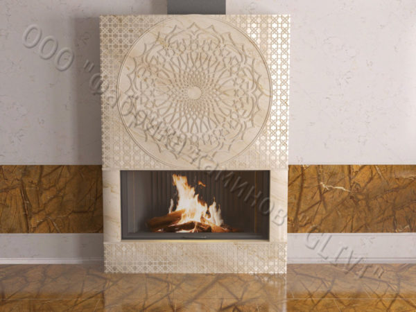 Мраморный каминный портал (облицовка) в восточном (арабском) стиле Марам, каталог (интернет-магазин) каминов из мрамора, изображение, фото 3