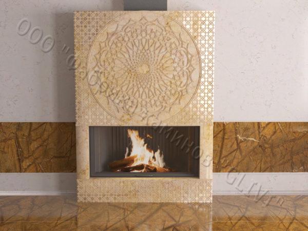 Мраморный каминный портал (облицовка) в восточном (арабском) стиле Марам, каталог (интернет-магазин) каминов из мрамора, изображение, фото 4
