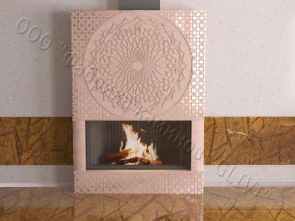 Мраморный каминный портал (облицовка) в восточном (арабском) стиле Марам, каталог (интернет-магазин) каминов из мрамора, изображение, фото 5