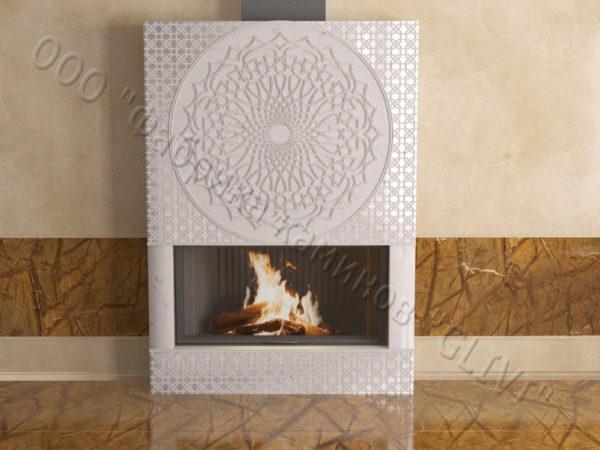 Мраморный каминный портал (облицовка) в восточном (арабском) стиле Марам, каталог (интернет-магазин) каминов из мрамора, изображение, фото 6