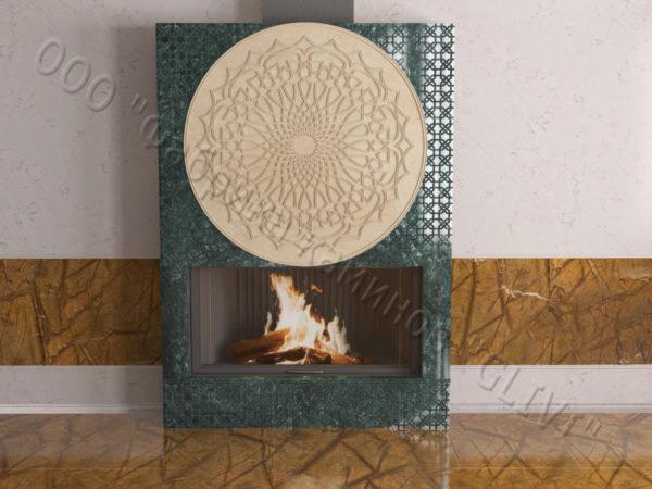 Мраморный каминный портал (облицовка) в восточном (арабском) стиле Марам, каталог (интернет-магазин) каминов из мрамора, изображение, фото 7