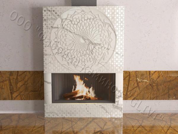 Мраморный каминный портал (облицовка) в восточном (арабском) стиле Марам, каталог (интернет-магазин) каминов из мрамора, изображение, фото 9