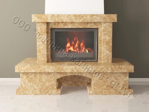 Мраморный каминный портал (облицовка) Марокко с банкеткой, каталог (интернет-магазин) каминов из мрамора, изображение, фото 7