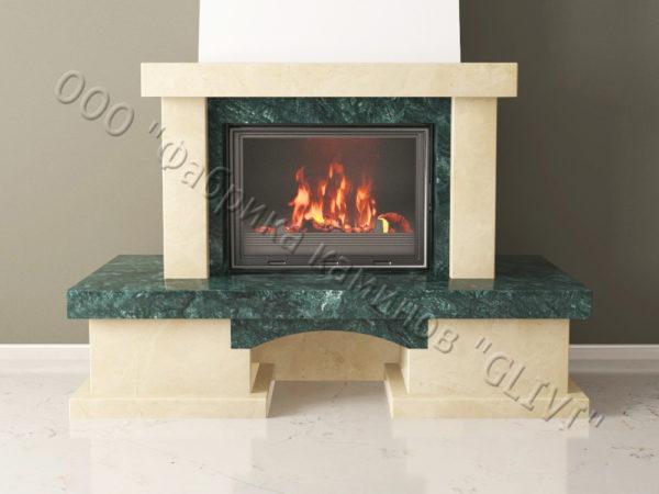 Мраморный каминный портал (облицовка) Марокко с банкеткой, каталог (интернет-магазин) каминов из мрамора, изображение, фото 8