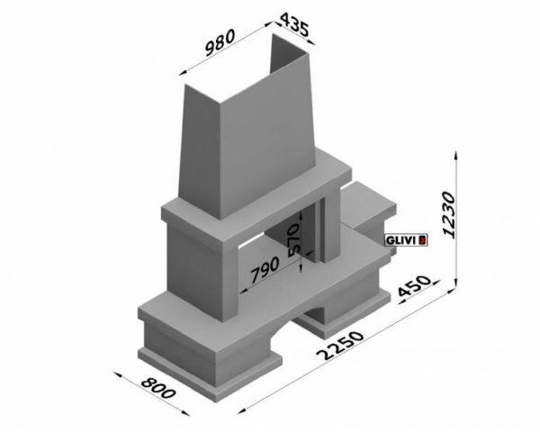 Мраморный каминный портал (облицовка) Марокко с банкеткой, каталог (интернет-магазин) каминов из мрамора, изображение, фото 3