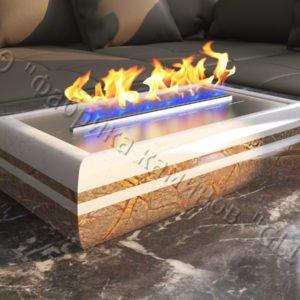 Мраморная облицовка (каминный портал) для камина на биотопливе Марон, каталог (интернет-магазин) каминов из мрамора, изображение, фото 1