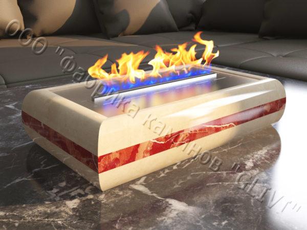 Мраморная облицовка (каминный портал) для камина на биотопливе Марон, каталог (интернет-магазин) каминов из мрамора, изображение, фото 2