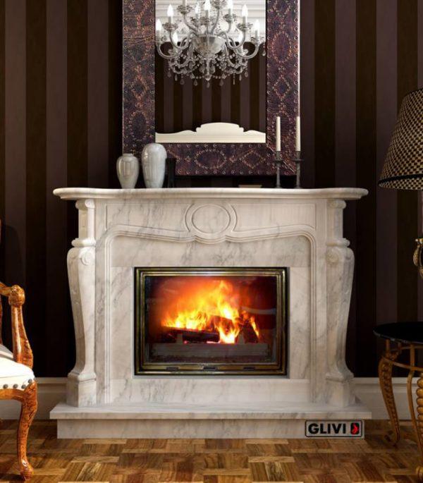 Мраморный каминный портал (облицовка) Марсель, каталог (интернет-магазин) каминов из мрамора, изображение, фото 1