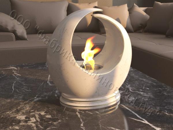 Мраморная облицовка (каминный портал) для камина на биотопливе Мики, каталог (интернет-магазин) каминов из мрамора, изображение, фото 1
