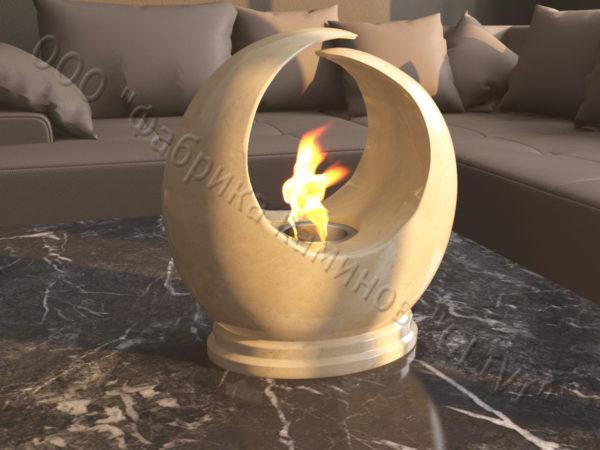 Мраморная облицовка (каминный портал) для камина на биотопливе Мики, каталог (интернет-магазин) каминов из мрамора, изображение, фото 2