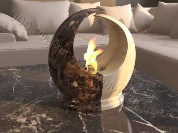 Мраморная облицовка (каминный портал) для камина на биотопливе Мики, каталог (интернет-магазин) каминов из мрамора, изображение, фото 3