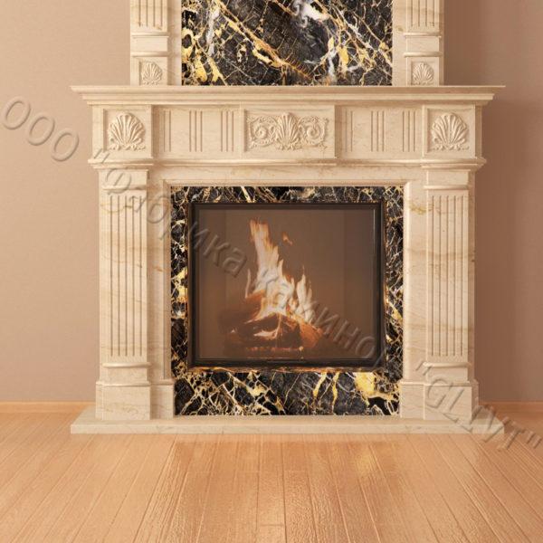 Мраморный каминный портал (облицовка) Милена, каталог (интернет-магазин) каминов из мрамора, изображение, фото 6