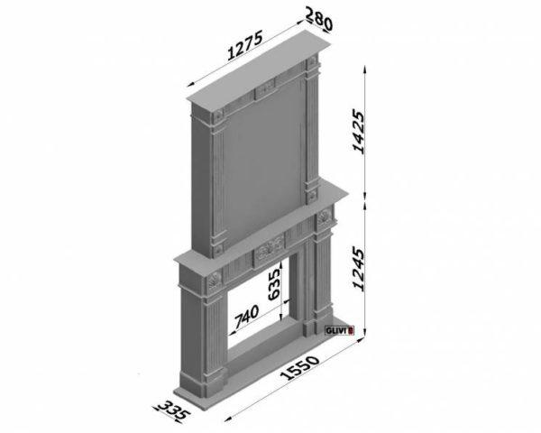 Мраморный каминный портал (облицовка) Милена, каталог (интернет-магазин) каминов из мрамора, изображение, фото 7