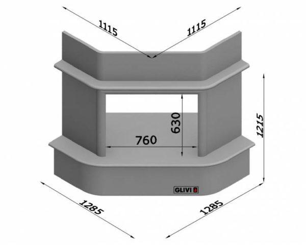 Угловой (пристенный) каминный портал (облицовка) Милсен, каталог (интернет-магазин) каминов, изображение, фото 7
