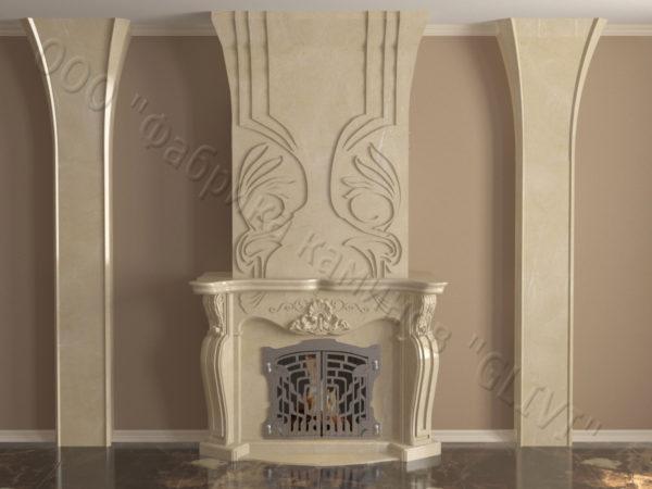 Мраморный камин с открытой топкой Моравия, каталог (интернет-магазин) каминов из мрамора, изображение, фото 2