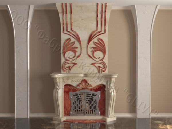 Мраморный камин с открытой топкой Моравия, каталог (интернет-магазин) каминов из мрамора, изображение, фото 12