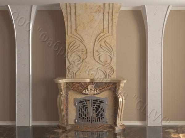Мраморный камин с открытой топкой Моравия, каталог (интернет-магазин) каминов из мрамора, изображение, фото 13