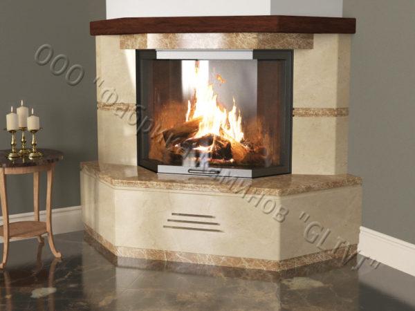 Угловой (пристенный) каминный портал (облицовка) Некер, каталог (интернет-магазин) каминов, изображение, фото 1