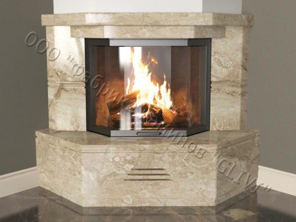 Угловой (пристенный) каминный портал (облицовка) Некер, каталог (интернет-магазин) каминов, изображение, фото 3