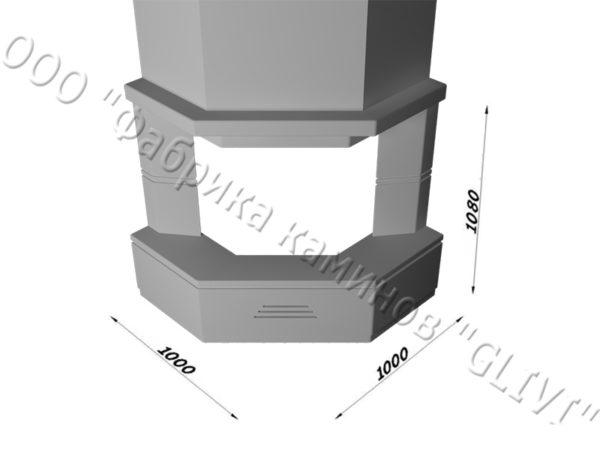 Угловой (пристенный) каминный портал (облицовка) Некер, каталог (интернет-магазин) каминов, изображение, фото 7
