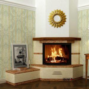 Угловой (пристенный) каминный портал (облицовка) Некер с банкеткой, каталог (интернет-магазин) каминов, изображение, фото 1