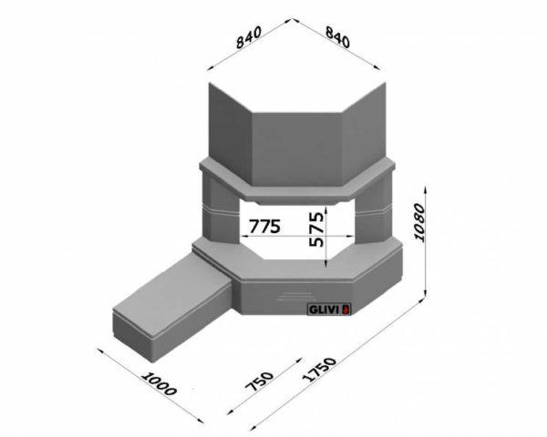 Угловой (пристенный) каминный портал (облицовка) Некер с банкеткой, каталог (интернет-магазин) каминов, изображение, фото 2