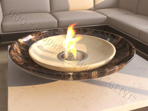 Мраморная облицовка (каминный портал) для камина на биотопливе Олимпия, каталог (интернет-магазин) каминов из мрамора, изображение, фото 1