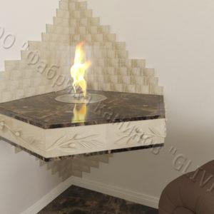 Настенный угловой каминный портал (облицовка) для биокамина Олив, каталог (интернет-магазин) каминов, изображение, фото 1