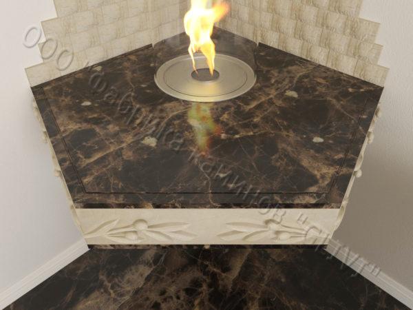 Настенный угловой каминный портал (облицовка) для биокамина Олив, каталог (интернет-магазин) каминов, изображение, фото 3