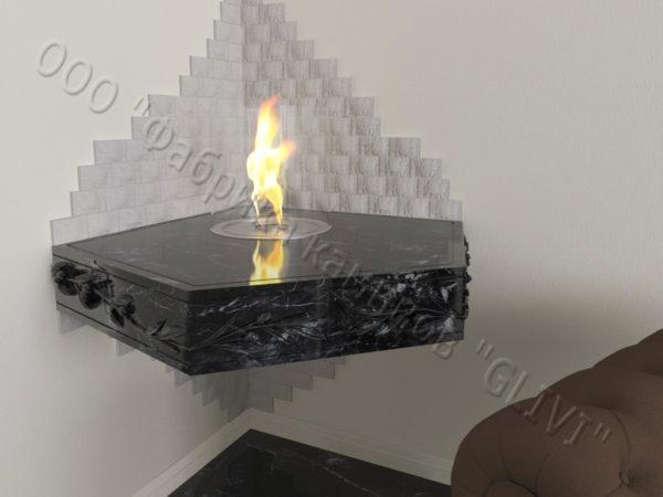 Настенный угловой каминный портал (облицовка) для биокамина Олив, каталог (интернет-магазин) каминов, изображение, фото 4
