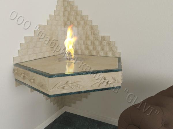 Настенный угловой каминный портал (облицовка) для биокамина Олив, каталог (интернет-магазин) каминов, изображение, фото 6