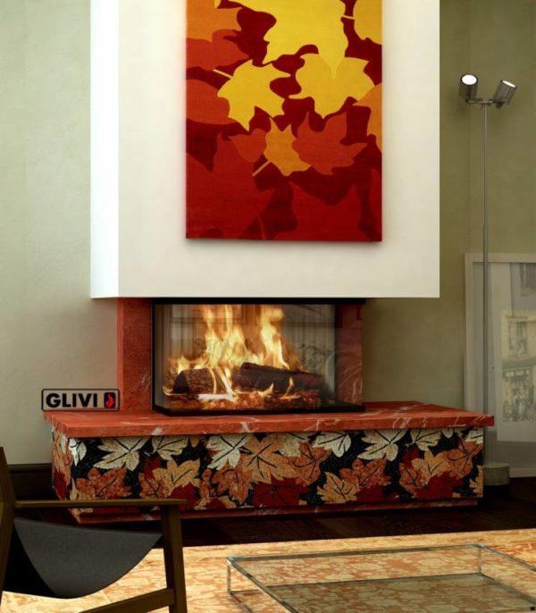 Мраморный фронтальный камин Осень