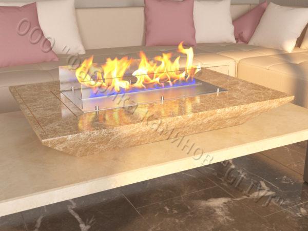 Мраморная облицовка (каминный портал) для камина на биотопливе Палис, каталог (интернет-магазин) каминов из мрамора, изображение, фото 6