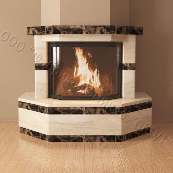 Мраморный каминный портал (облицовка) Палм, каталог (интернет-магазин) каминов из мрамора, изображение, фото 3