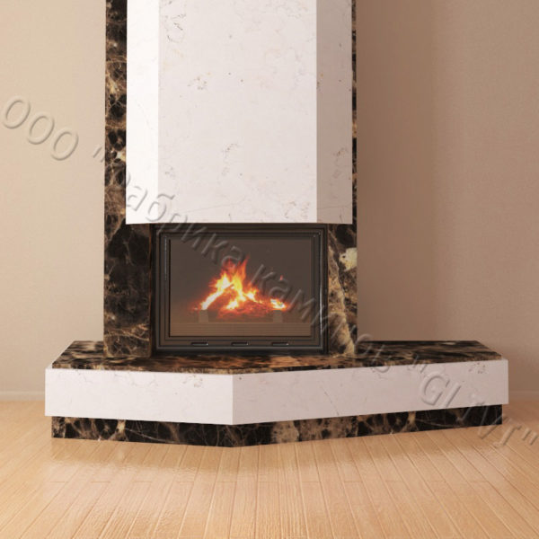 Мраморный каминный портал (облицовка) Парма, каталог (интернет-магазин) каминов из мрамора, изображение, фото 3