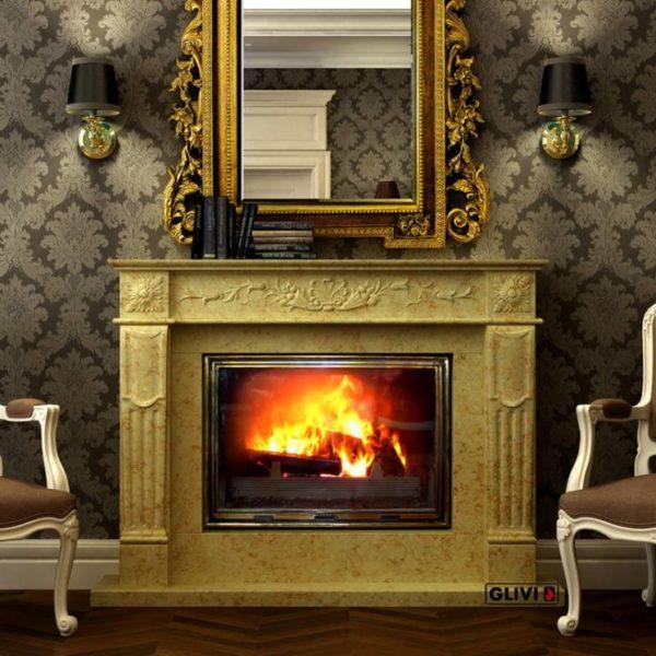 Мраморный каминный портал (облицовка) Рим, каталог (интернет-магазин) каминов из мрамора, изображение, фото 1