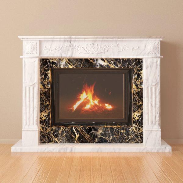 Мраморный каминный портал (облицовка) Рим, каталог (интернет-магазин) каминов из мрамора, изображение, фото 2