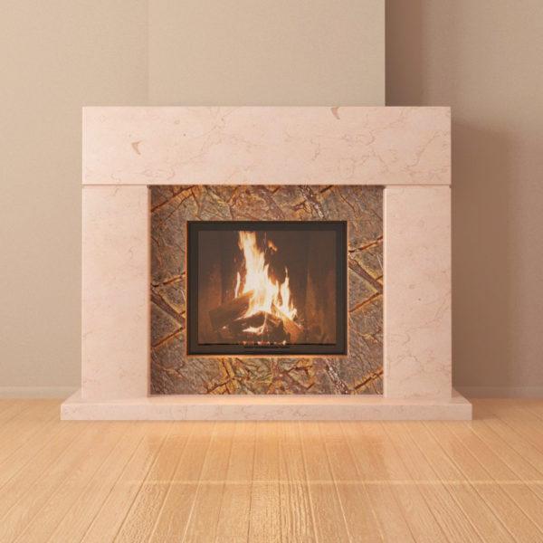 Мраморный каминный портал (облицовка) Родос, каталог (интернет-магазин) каминов из мрамора, изображение, фото 1